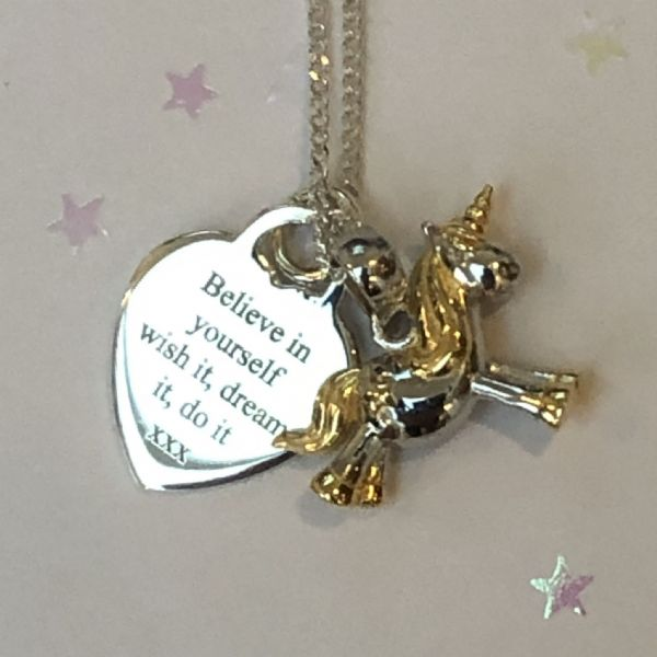 Unicorn engraved  jewellery gift  -FREE ENGRAVING